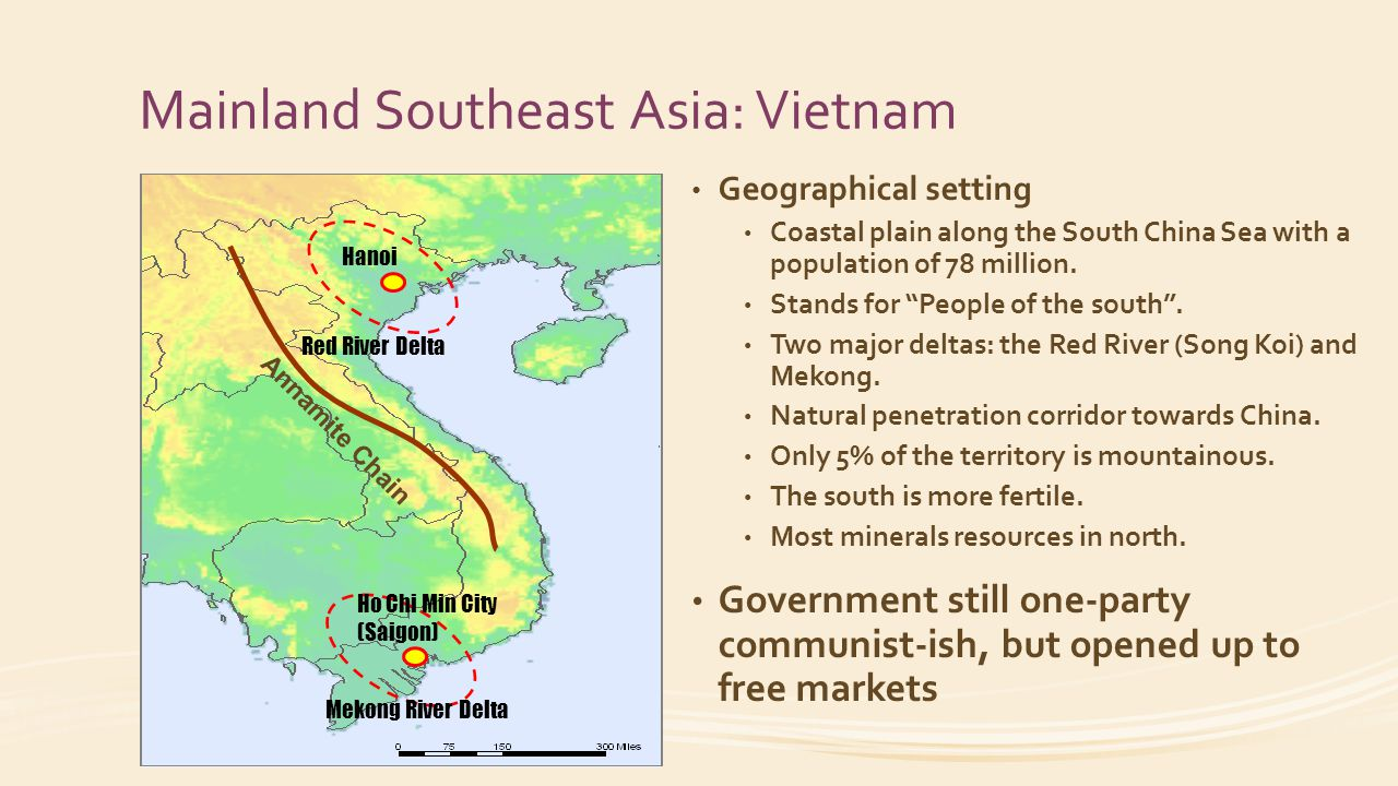 Mainland Southeast Asia: Vietnam Geographical setting Coastal plain along the South China Sea with a population of 78 million.