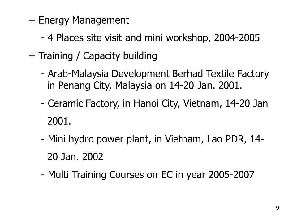 9 + Energy Management - 4 Places site visit and mini workshop, 2004-2005 + Training / Capacity building - Arab-Malaysia Development Berhad Textile Fac