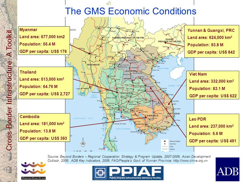 Cross-Border Infrastructure: A Toolkit Thailand Land area: 513,000 km 2 Population: 64.76 M GDP per capita: US$ 2,727 Myanmar Land area: 677,000 km2 Population: 55.4 M GDP per capita: US$ 176 Yunnan & Guangxi, PRC Land area: 624,000 km 2 Population: 93.8 M GDP per capita: US$ 842 Viet Nam Land area: 332,000 km 2 Population: 83.1 M GDP per capita: US$ 622 Lao PDR Land area: 237,000 km 2 Population: 5.6 M GDP per capita: US$ 491 Cambodia Land area: 181,000 km 2 Population: 13.8 M GDP per capita: US$ 393 The GMS Economic Conditions Source: Beyond Borders – Regional Cooperation Strategy & Program Update, 2007-2009; Asian Development Outlook, 2006; ADB Key Indicators, 2006; FAO/People's Govt.