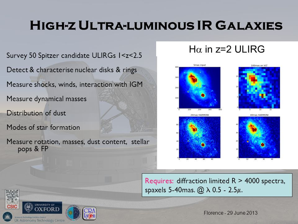 High-z Ultra-luminous IR Galaxies Survey 50 Spitzer candidate ULIRGs 1<z<2.5 Detect & characterise nuclear disks & rings Measure shocks, winds, intera