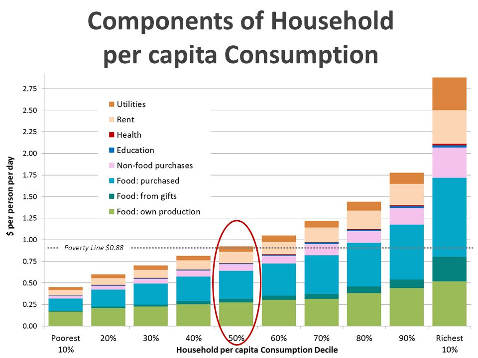 Poverty Line $0.88 Components of Household per capita Consumption