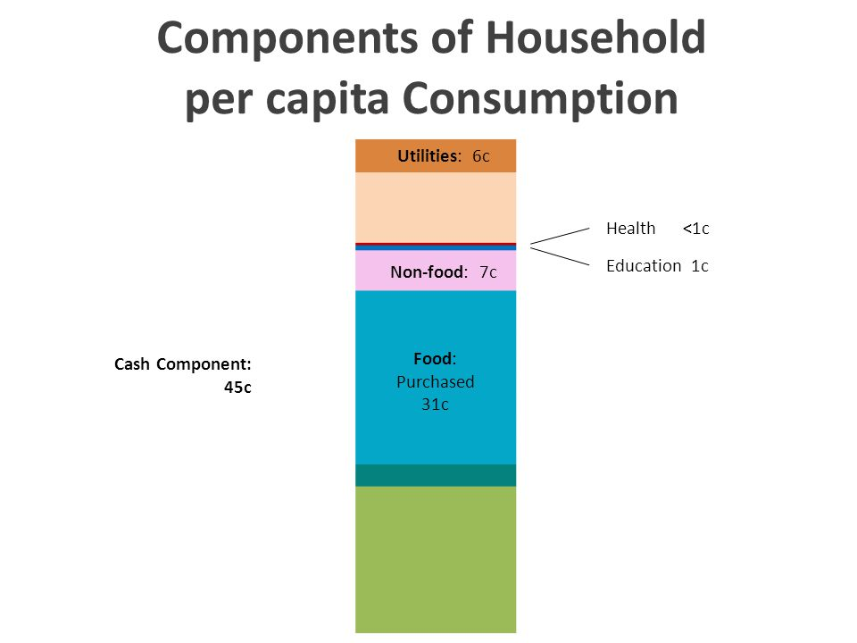 Components of Household per capita Consumption Utilities: 6c Food: Purchased 31c Non-food: 7c Health <1c Education 1c Cash Component: 45c Components of Household per capita Consumption