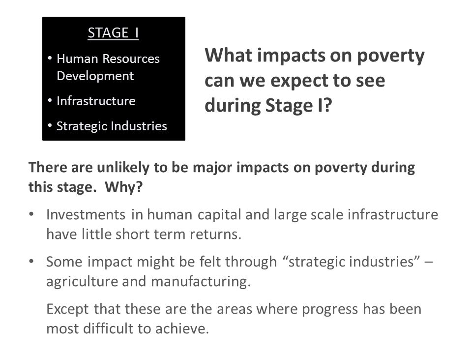 What impacts on poverty can we expect to see during Stage I.