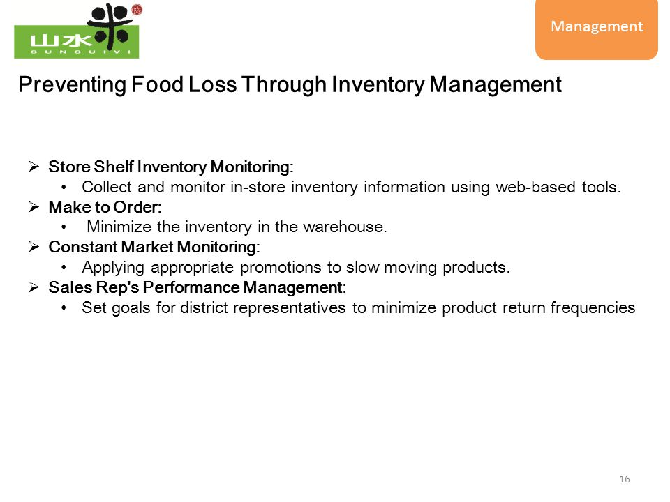 16 Preventing Food Loss Through Inventory Management  Store Shelf Inventory Monitoring: Collect and monitor in-store inventory information using web-