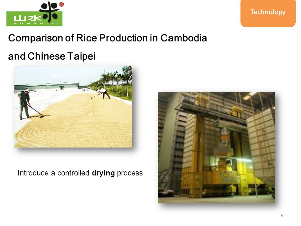 5 Introduce a controlled drying process Comparison of Rice Production in Cambodia and Chinese Taipei Technology