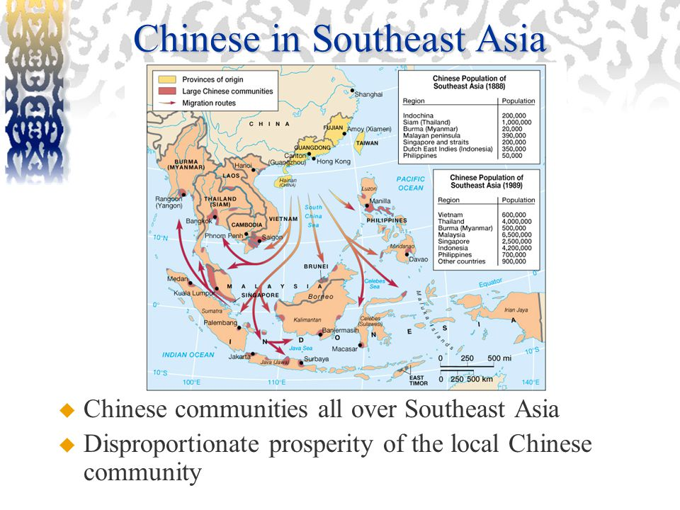 Chinese in Southeast Asia  Chinese communities all over Southeast Asia  Disproportionate prosperity of the local Chinese community