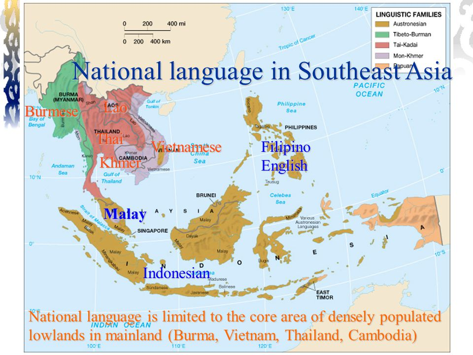 National language in Southeast Asia Burmese Thai Lao Vietnamese Khmer Malay Indonesian Filipino English National language is limited to the core area of densely populated lowlands in mainland (Burma, Vietnam, Thailand, Cambodia)