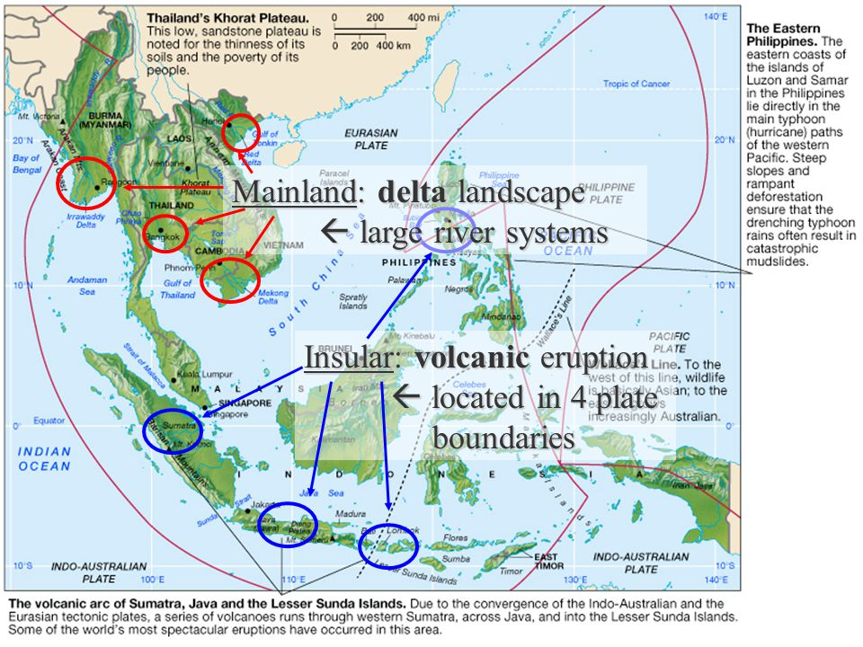 Mainland: delta landscape  large river systems Insular: volcanic eruption  located in 4 plate boundaries