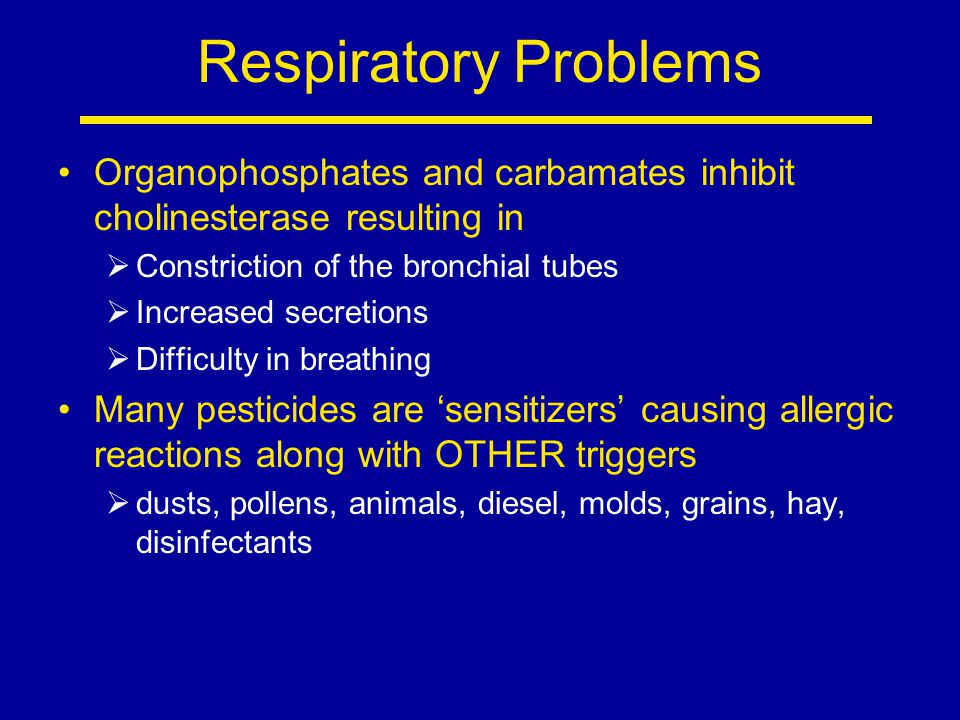 Respiratory Problems Organophosphates and carbamates inhibit cholinesterase resulting in  Constriction of the bronchial tubes  Increased secretions