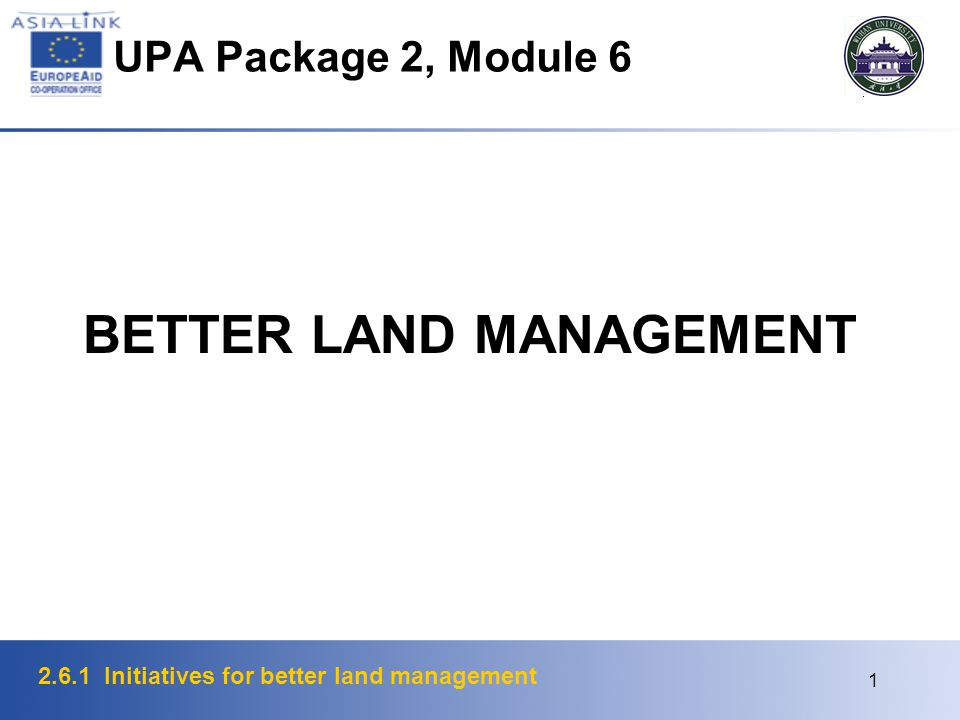 2.6.1 Initiatives for better land management 2 Land Policy Appropriates for consideration under land policy mentioned in the Bogor Declaration as follows:  security of tenure  access to credit  land reform  land titling  resolution of issues relating to traditional or customary tenures  provision of land for the poor, ethnic minorities and women  land use and physical planning real property taxation  prevention of land speculation and land disputes