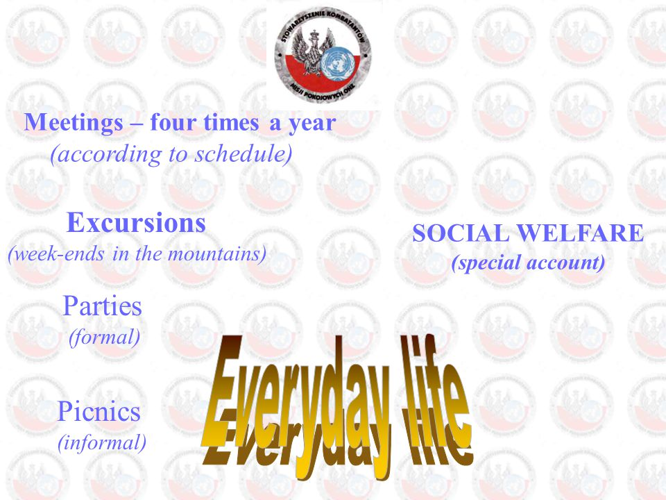 Meetings – four times a year (according to schedule) Parties (formal) Excursions (week-ends in the mountains) Picnics (informal) SOCIAL WELFARE (special account)