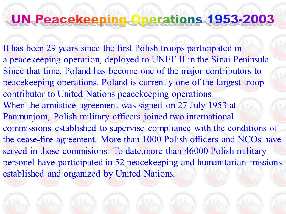 It has been 29 years since the first Polish troops participated in a peacekeeping operation, deployed to UNEF II in the Sinai Peninsula.