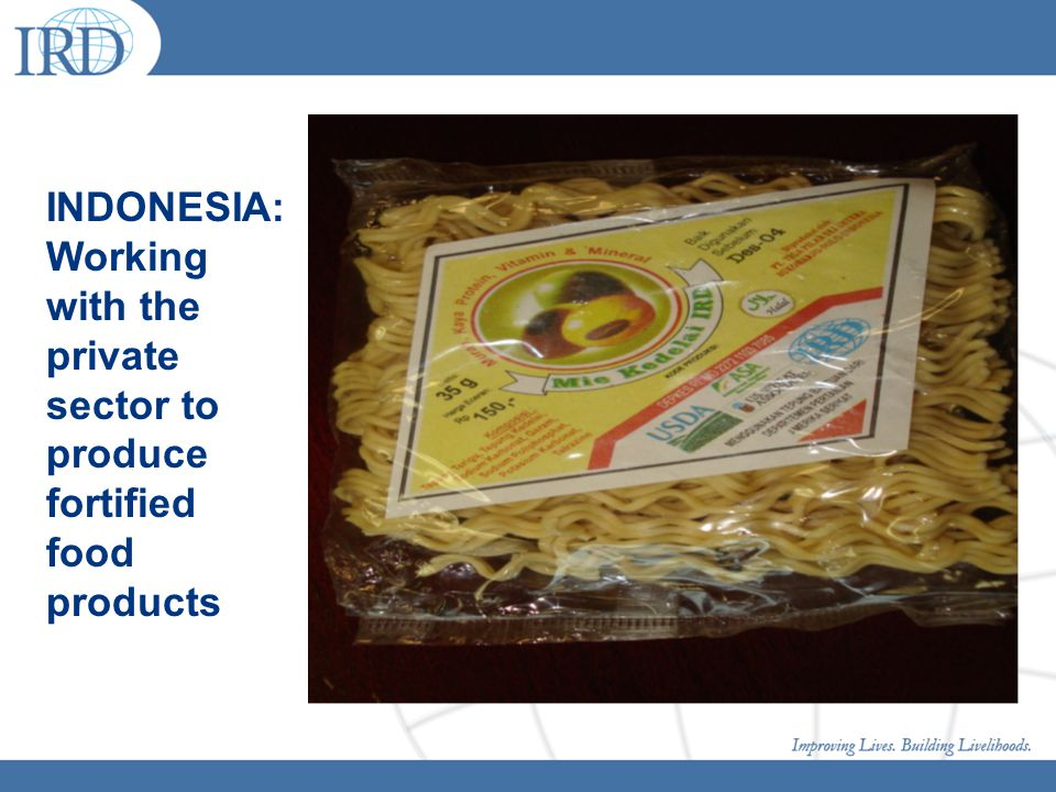 INDONESIA: Working with the private sector to produce fortified food products