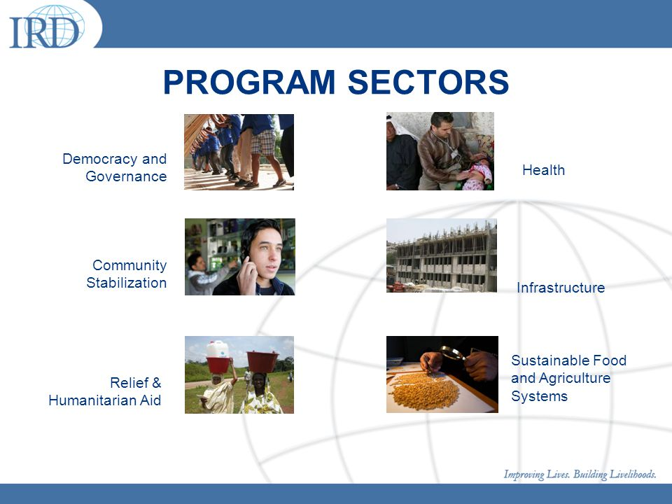 PROGRAM SECTORS Democracy and Governance Sustainable Food and Agriculture Systems Infrastructure Health Community Stabilization Relief & Humanitarian