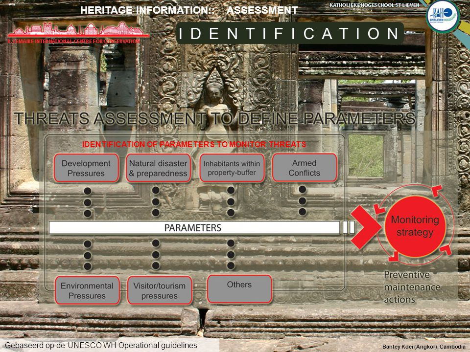 Bantey Kdei (Angkor), Cambodia IDENTIFICATION OF PARAMETERS TO MONITOR THREATS IDENTIFICATION Gebaseerd op de UNESCO WH Operational guidelines HERITAG