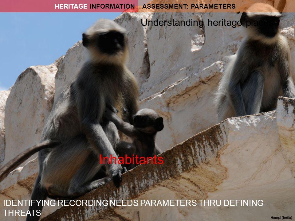 Hampi (India) IDENTIFYING RECORDING NEEDS PARAMETERS THRU DEFINING THREATS Inhabitants Understanding heritage places ASSESSMENT: PARAMETERSHERITAGE IN