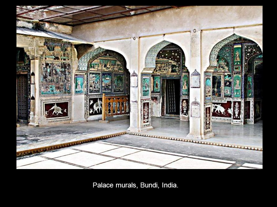 Palace murals, Bundi, India.