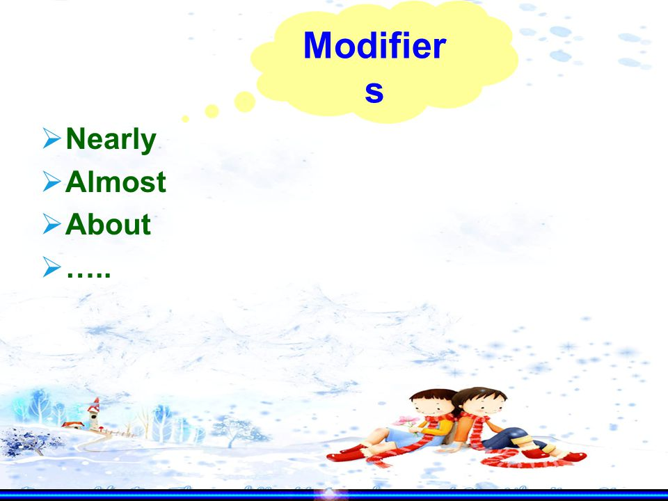  Nearly  Almost  About  ….. Modifier s