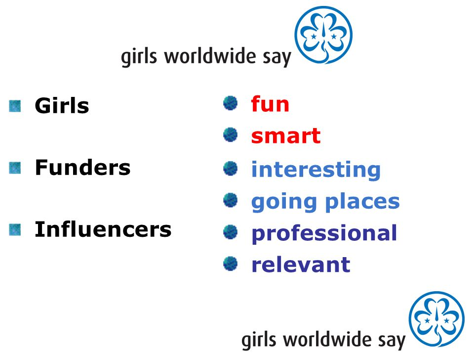 Girls Funders Influencers fun smart interesting going places professional relevant
