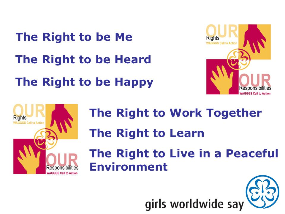 The Right to be Me The Right to Work Together The Right to be Heard The Right to be Happy The Right to Learn The Right to Live in a Peaceful Environme