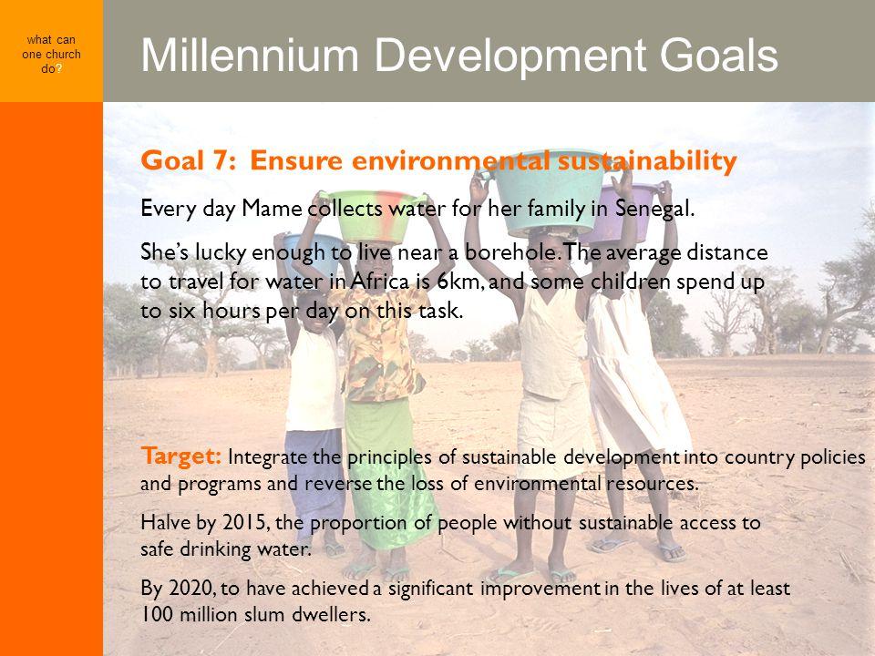 Millennium Development Goals what can one church do.