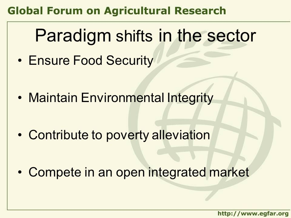 Paradigm shifts in the sector Ensure Food Security Maintain Environmental Integrity Contribute to poverty alleviation Compete in an open integrated market
