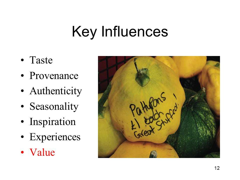 Key Influences Taste Provenance Authenticity Seasonality Inspiration Experiences Value 12
