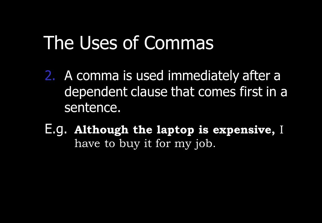 Wednesday, April 29, 2015 PREPARED BY ITH ESARA 4 The Uses of Commas 1)A comma is used before coordinating conjunction (FAN BOYS) in a compound senten