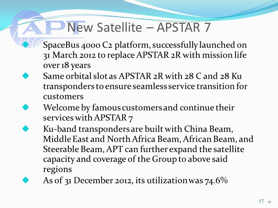 New Satellite – APSTAR 7  SpaceBus 4000 C2 platform, successfully launched on 31 March 2012 to replace APSTAR 2R with mission life over 18 years  Same orbital slot as APSTAR 2R with 28 C and 28 Ku transponders to ensure seamless service transition for customers  Welcome by famous customers and continue their services with APSTAR 7  Ku-band transponders are built with China Beam, Middle East and North Africa Beam, African Beam, and Steerable Beam, APT can further expand the satellite capacity and coverage of the Group to above said regions  As of 31 December 2012, its utilization was 74.6% 17