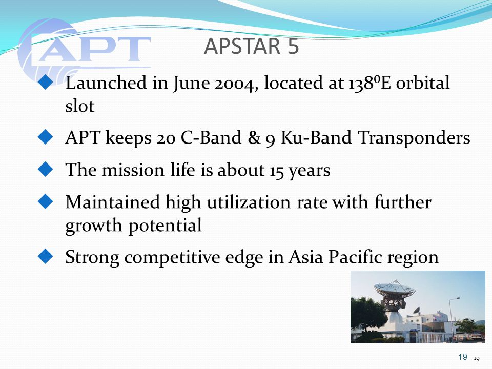 APSTAR 5 19  Launched in June 2004, located at 138⁰E orbital slot  APT keeps 20 C-Band & 9 Ku-Band Transponders  The mission life is about 15 years  Maintained high utilization rate with further growth potential  Strong competitive edge in Asia Pacific region