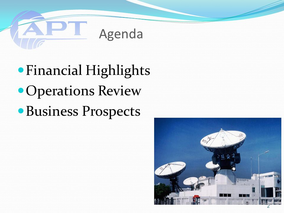 Agenda Financial Highlights Operations Review Business Prospects 2