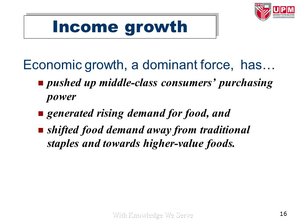 16 Economic growth, a dominant force, has… pushed up middle-class consumers' purchasing power generated rising demand for food, and shifted food deman