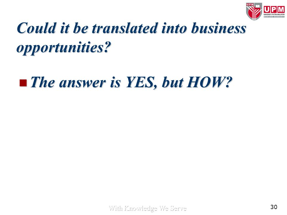 30 Could it be translated into business opportunities? The answer is YES, but HOW? The answer is YES, but HOW?