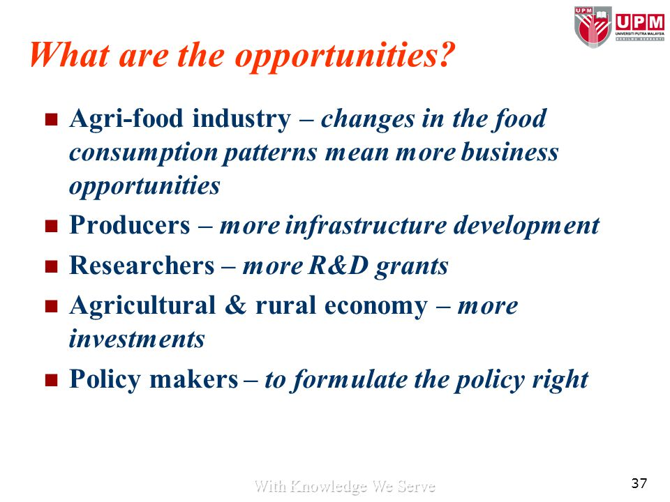37 What are the opportunities? Agri-food industry – changes in the food consumption patterns mean more business opportunities Producers – more infrast