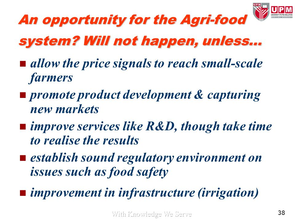 38 An opportunity for the Agri-food system? Will not happen, unless… allow the price signals to reach small-scale farmers promote product development