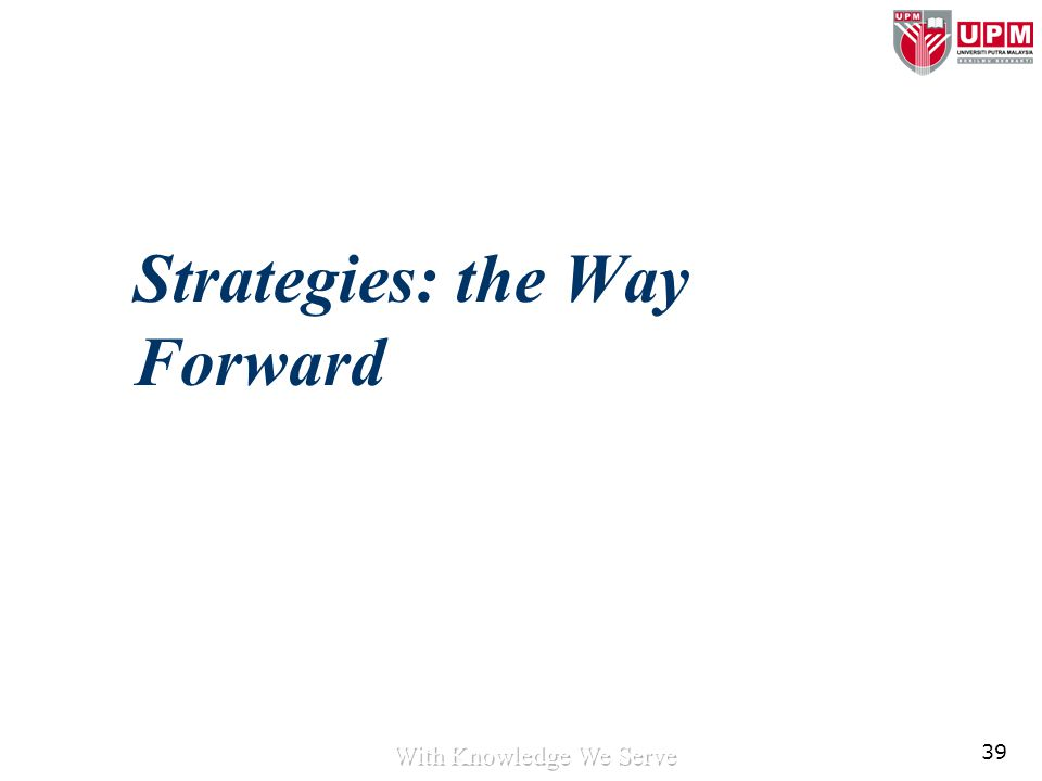 39 Strategies: the Way Forward