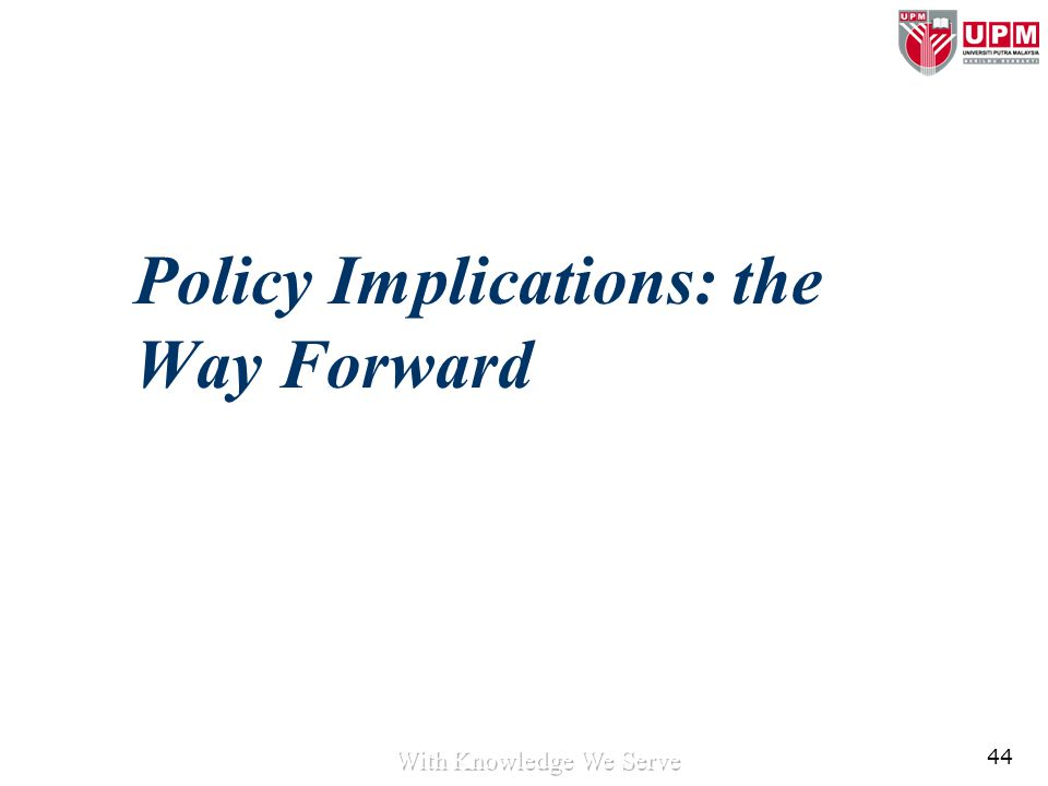 44 Policy Implications: the Way Forward