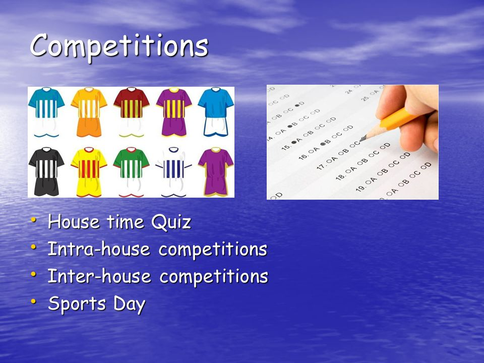 Competitions House time Quiz House time Quiz Intra-house competitions Intra-house competitions Inter-house competitions Inter-house competitions Sports Day Sports Day