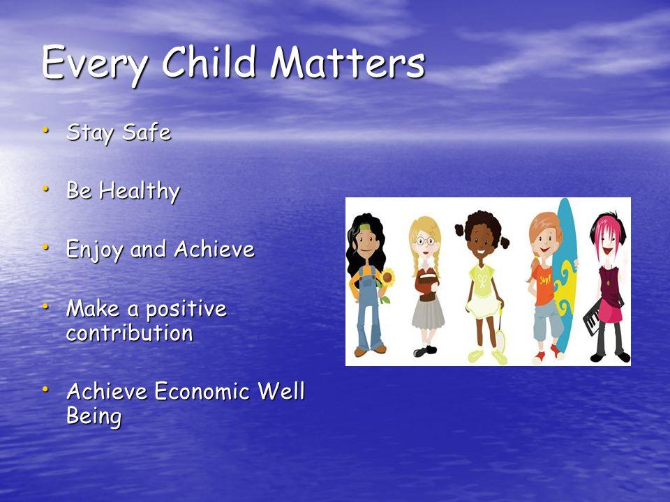 Every Child Matters Stay Safe Stay Safe Be Healthy Be Healthy Enjoy and Achieve Enjoy and Achieve Make a positive contribution Make a positive contribution Achieve Economic Well Being Achieve Economic Well Being