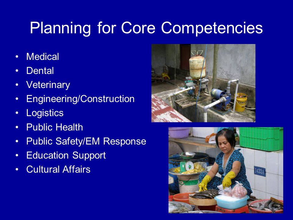 Planning for Core Competencies Medical Dental Veterinary Engineering/Construction Logistics Public Health Public Safety/EM Response Education Support Cultural Affairs