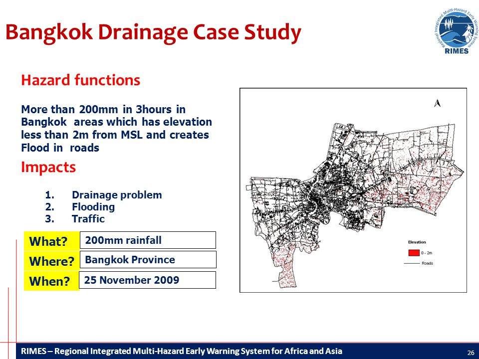 RIMES – Regional Integrated Multi-Hazard Early Warning System for Africa and Asia Bangkok Drainage Case Study 26 Impacts 1.Drainage problem 2.Flooding 3.Traffic Hazard functions More than 200mm in 3hours in Bangkok areas which has elevation less than 2m from MSL and creates Flood in roads What.