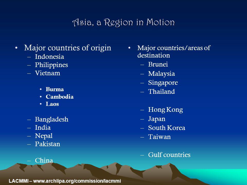 Worldwide: 191 million international migrants Asia: 53.3 million international migrants