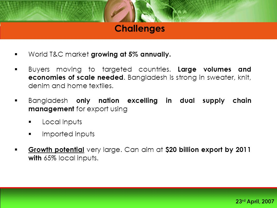 23 rd April, 2007  World T&C market growing at 5% annually.