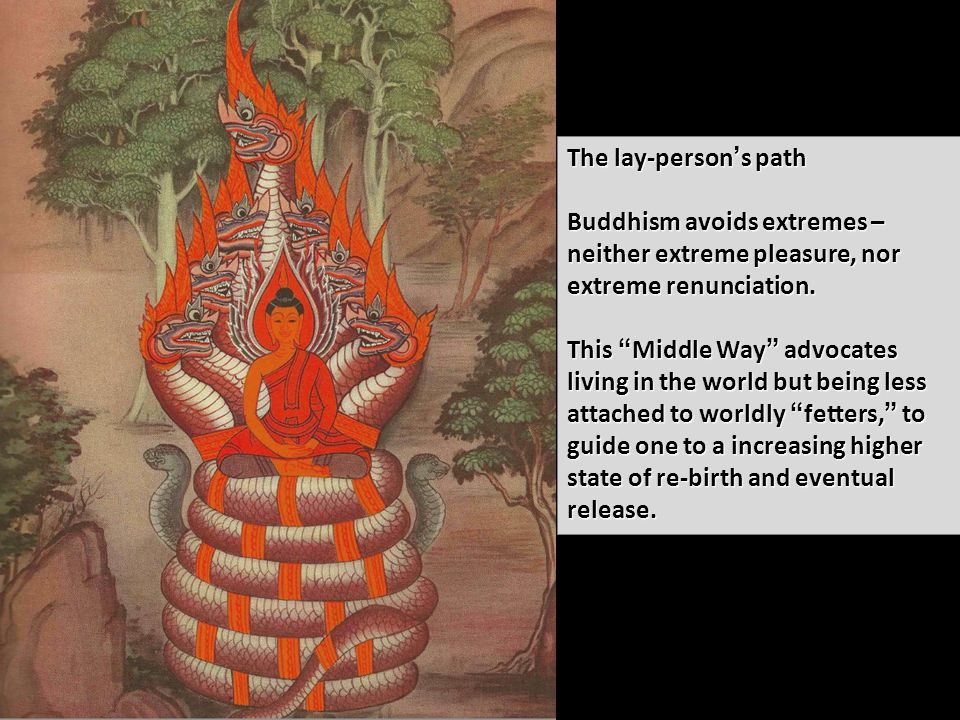 The lay-person's path Buddhism avoids extremes – neither extreme pleasure, nor extreme renunciation.