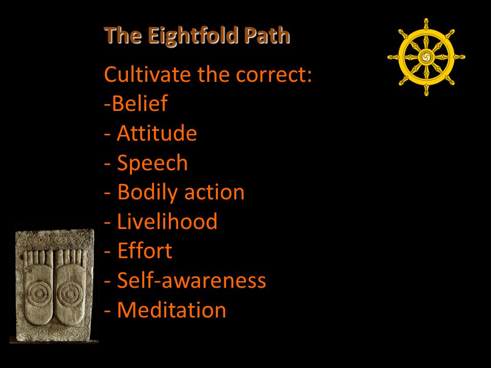 The Eightfold Path Cultivate the correct: -Belief - Attitude - Speech - Bodily action - Livelihood - Effort - Self-awareness - Meditation