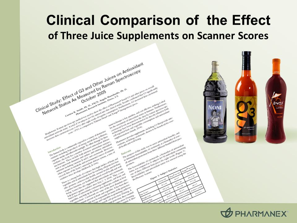 Clinical Comparison of the Effect of Three Juice Supplements on Scanner Scores