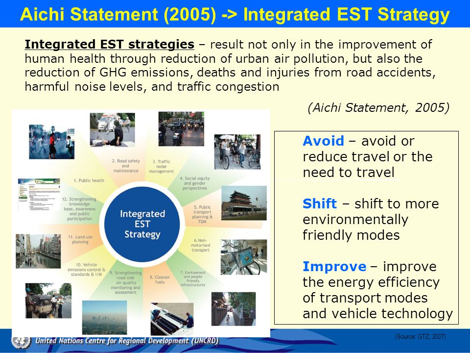 Aichi Statement (2005) -> Integrated EST Strategy Integrated EST strategies – result not only in the improvement of human health through reduction of