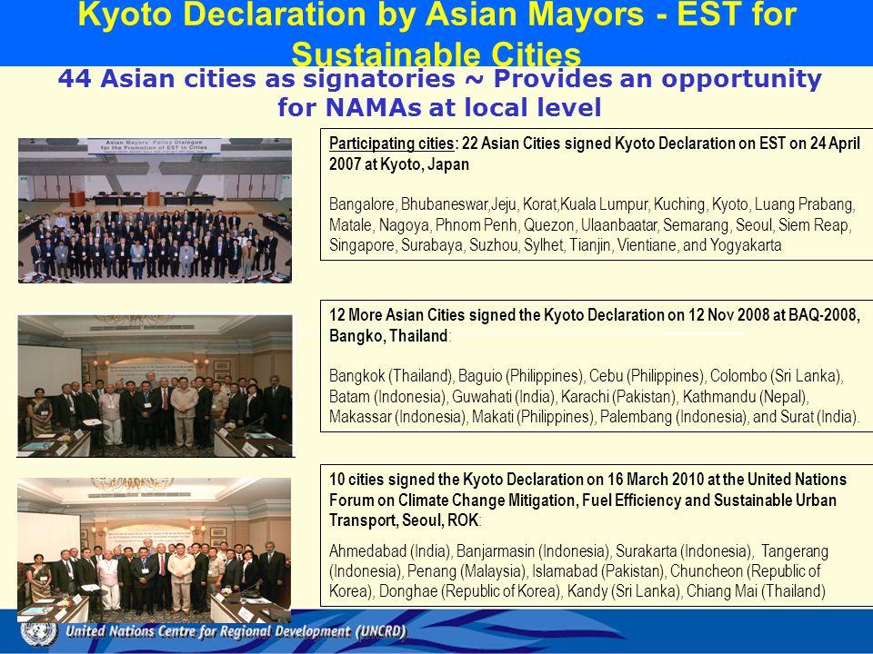 Participating cities: 22 Asian Cities signed Kyoto Declaration on EST on 24 April 2007 at Kyoto, Japan Bangalore, Bhubaneswar,Jeju, Korat,Kuala Lumpur