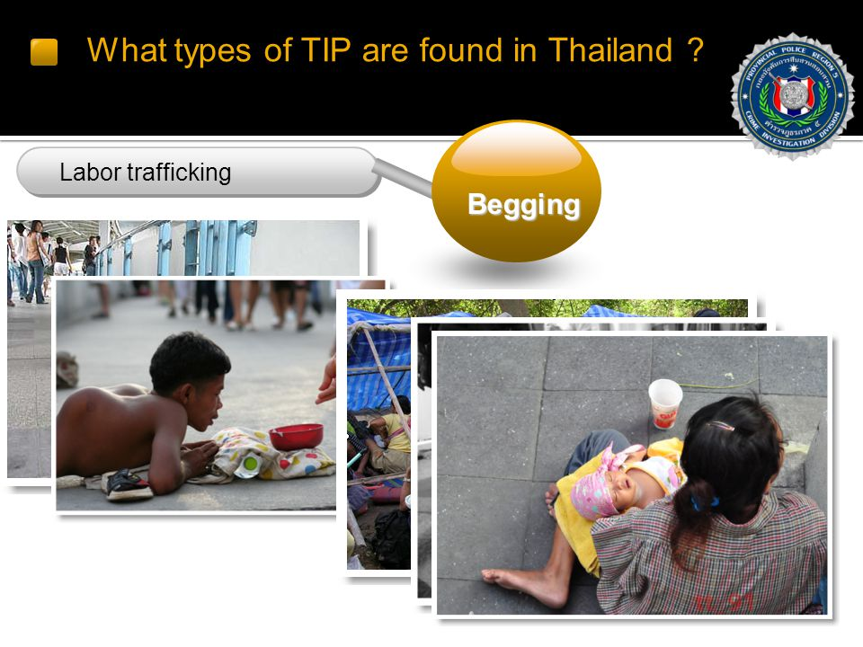What types of TIP are found in Thailand Labor trafficking Begging