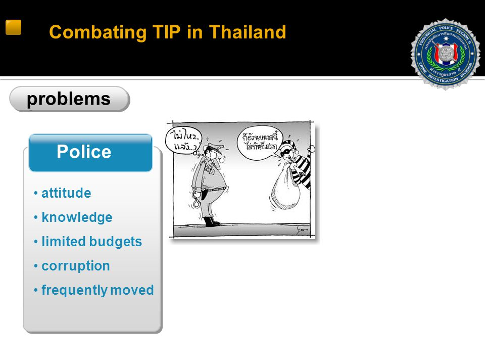 Combating TIP in Thailand problems Police attitude knowledge limited budgets corruption frequently moved